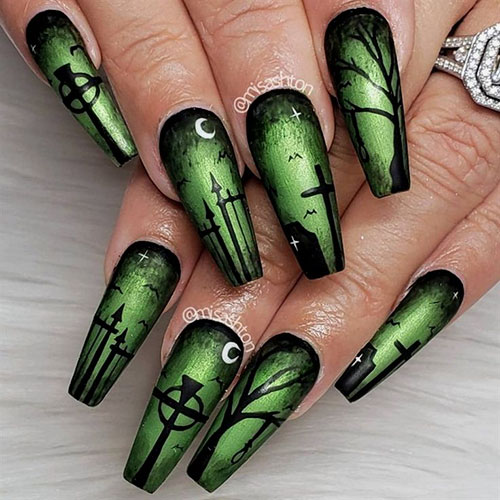 Coffin Halloween Nails