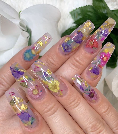 One Stroke Flowers Nails