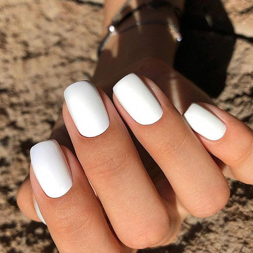 Milky White Acrylic Nails