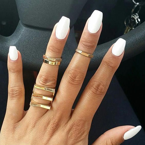 Cloudy White Acrylic Nails